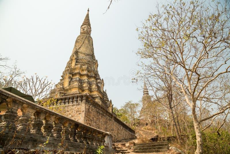 Oudong, Chetdei Tray Treung, stupa contains remains of King Sisovath. Oudong, Chetdei Tray Treung, stair to stupa contains remains of King Siso royalty free stock photo