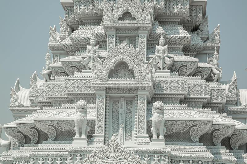 Oudong, stupa that contains relics of Buddha, carving details. Made by indians stock photography