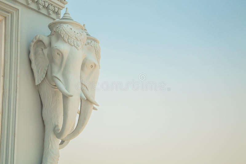 Oudong, stupa that contains relics of Buddha, elephants heads. Carving details stock images