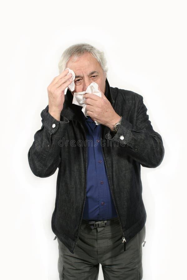 Oudste met griep royalty-vrije stock afbeelding