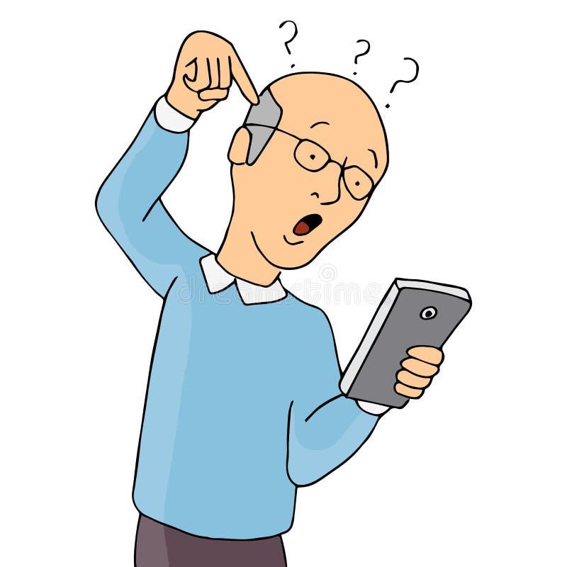 Oudste met Smartphone wordt verward dat stock illustratie
