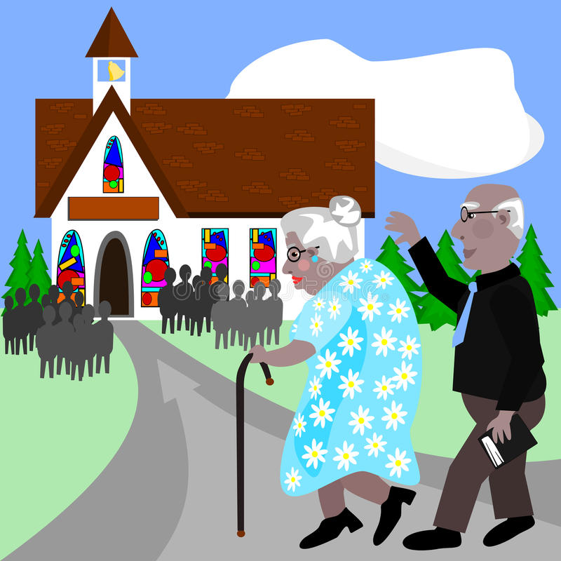 Oudsten die naar kerk gaan vector illustratie