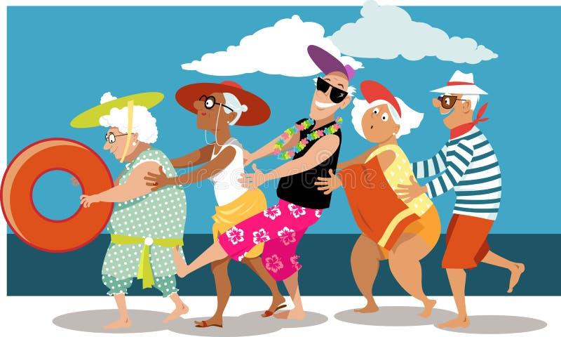Oudsten op het Strand royalty-vrije illustratie