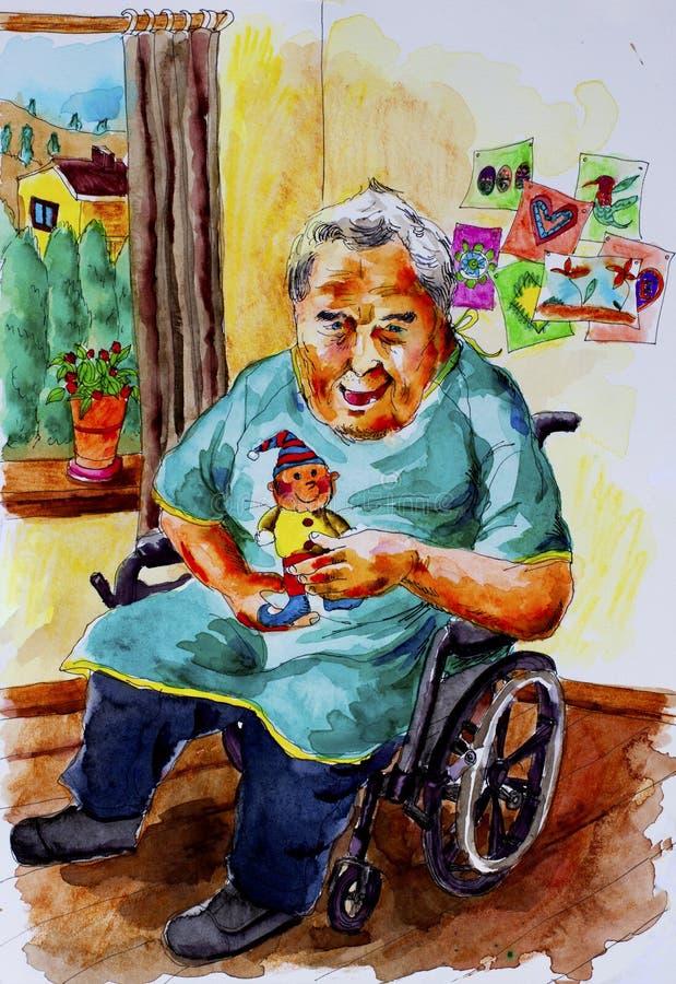 Oudstenbejaarde stock illustratie