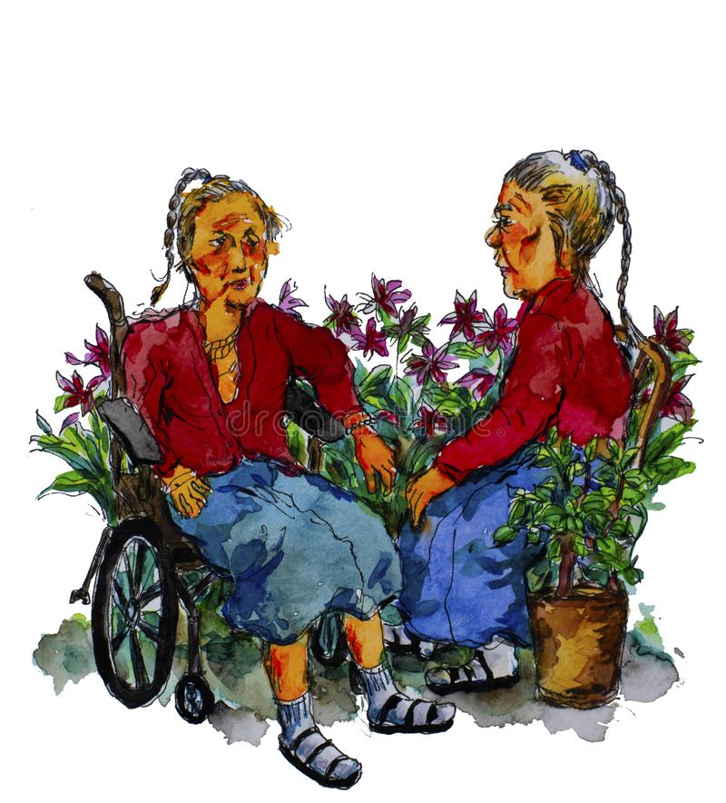 Oudstenbejaarden royalty-vrije illustratie