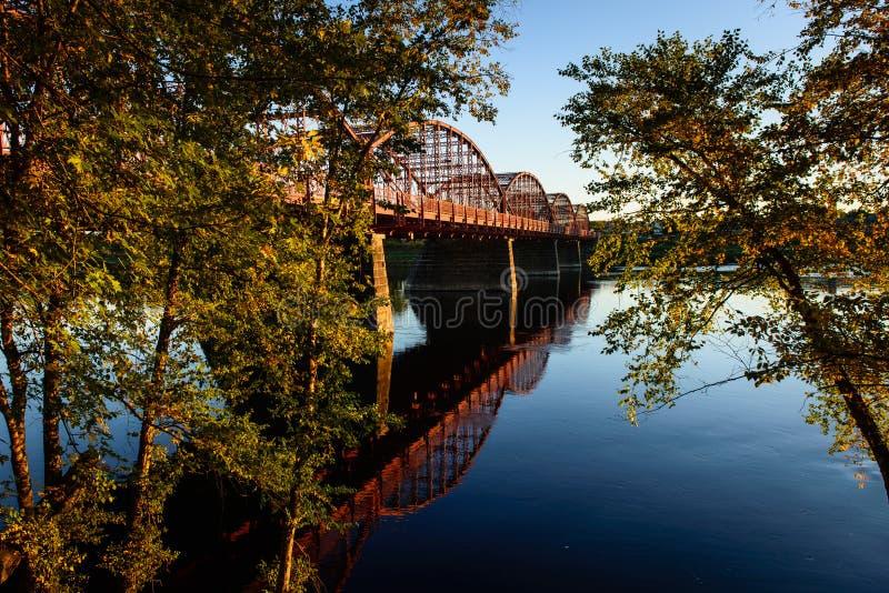 Ouellette Bridge. Joseph R. Ouellette Bridge, Aiken Street over the Merrimack River, Lowell, Massachusetts royalty free stock image