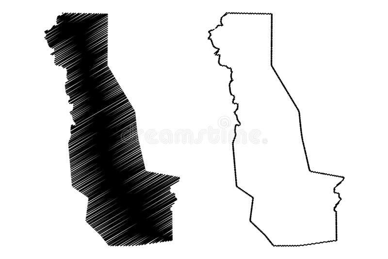 Oueme-Abteilungs-Abteilungen von Benin, Republik Benin, Dahomey Karten-Vektorillustration, Gekritzelskizze Oueme-Karte vektor abbildung
