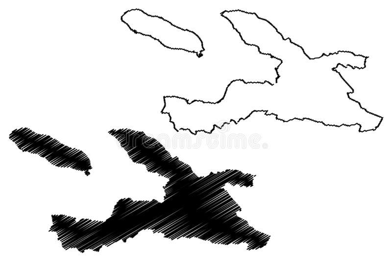 Ouest-Abteilung Republik von Haiti, Hayti, Hispaniola, Abteilungen der Haiti-Kartenvektorillustration, Gekritzelskizze Ouest-Kart vektor abbildung