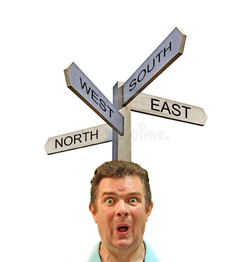 Ouest du sud-est du nord d'homme de signe de courrier de direction confuse de flèches photographie stock libre de droits