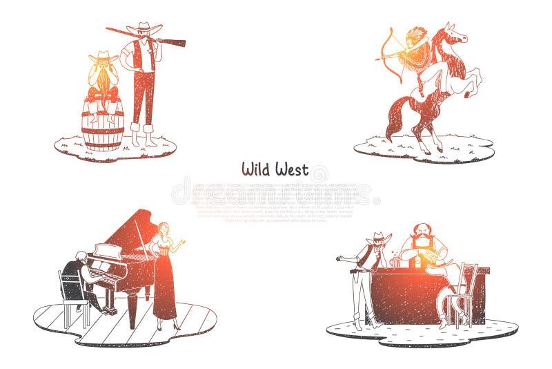 Ouest sauvage - Indien avec le tir à l'arc sur le cheval, le chasseur avec l'arme à feu, la salle avec des boissons et la taverne illustration libre de droits