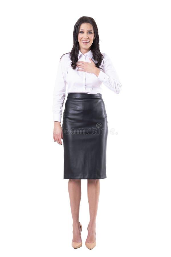 Ouf concept Expression soulagée de la jeune femme d'affaires entendant de bonnes nouvelles photographie stock libre de droits
