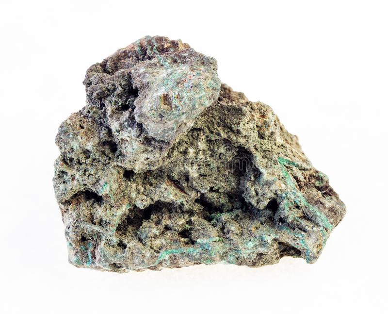 ough在白色的绿沸铜(铜矿)石头 库存图片