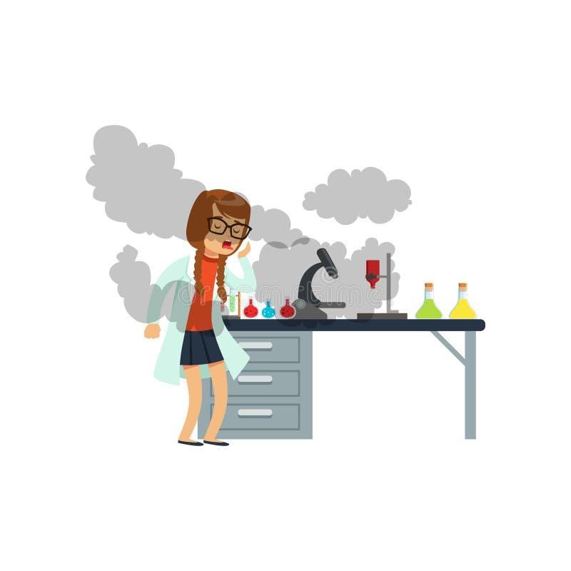 Oughing dziewczyna po nieudanego chemicznego eksperymentu, uczennica naukowa doświadczalnictwo w nauki chemii laboratorium ilustracji
