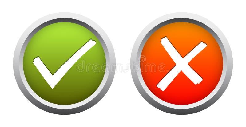 OUI + AUCUN boutons illustration libre de droits