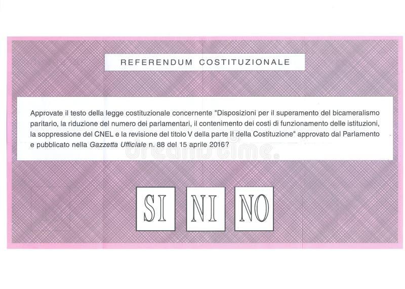 OUI AUCUN bulletin de vote PEUT-ÊTRE italien photographie stock