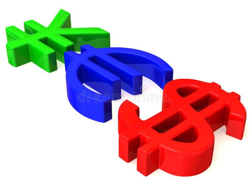 OUI des signes Yens, dollar et euro illustration de vecteur