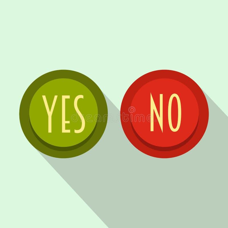 Oui et aucune icône de bouton, style plat illustration de vecteur