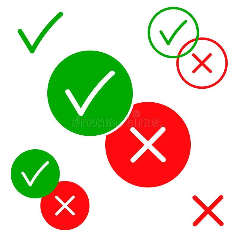 Oui et icônes non, positives et négatives de vecteur d'isolement sur l'illustration blanche de fond Couleur verte et rouge pour l illustration stock