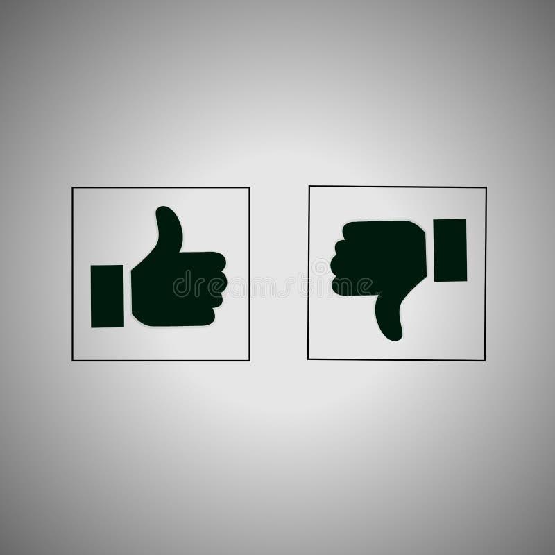 Oui et numéro Le pouce à travers des icônes, aiment et détestent des boutons illustration libre de droits