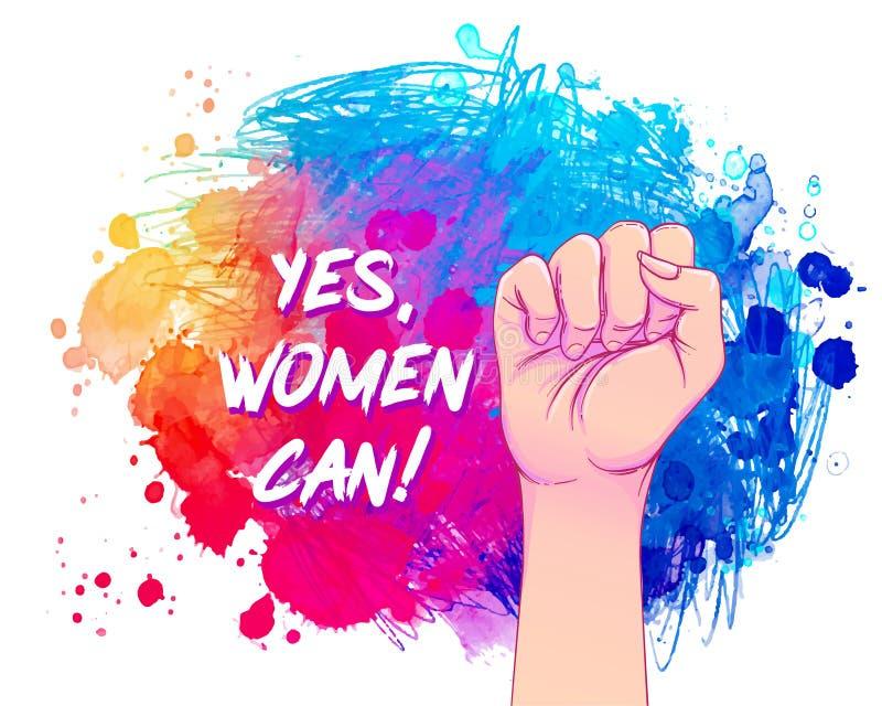 Oui, les femmes peuvent. La main de la femme avec le poing levé sur l'aquarelle. Pouvoir des filles. Concept féministe. Vecteur  illustration libre de droits