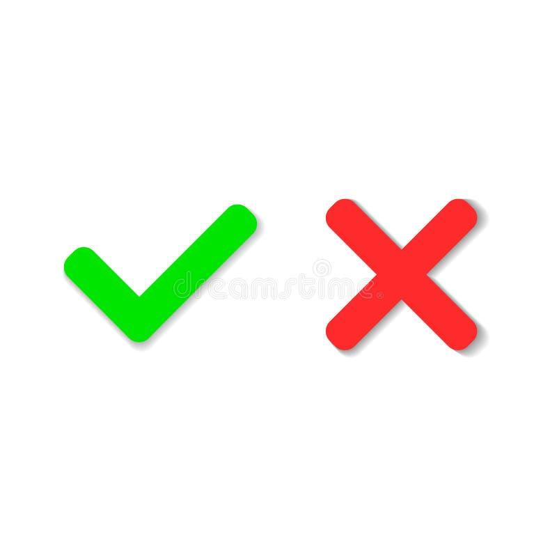 Oui ou non icônes Coche vert et icône de Croix-Rouge d'isolement dessus illustration libre de droits