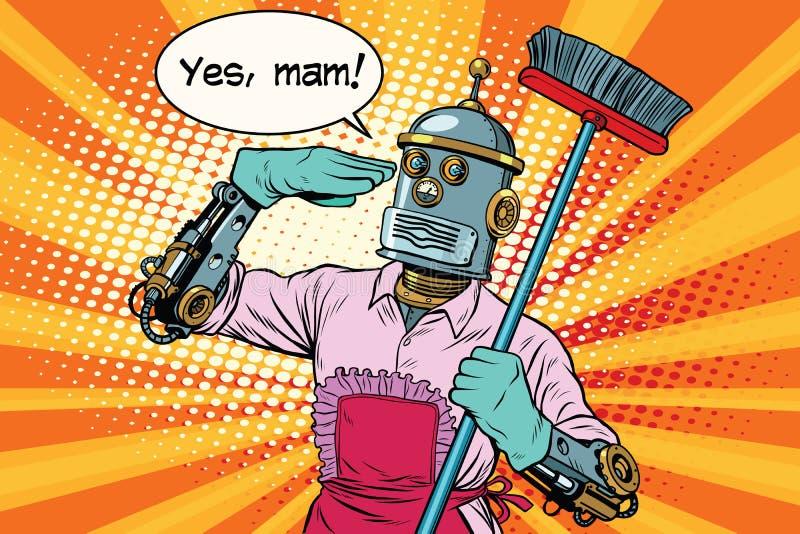 Oui robot de maman et nettoyage de la maison illustration stock
