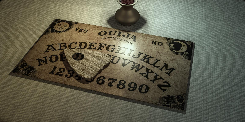 Ouija桌在一个暗室 向量例证