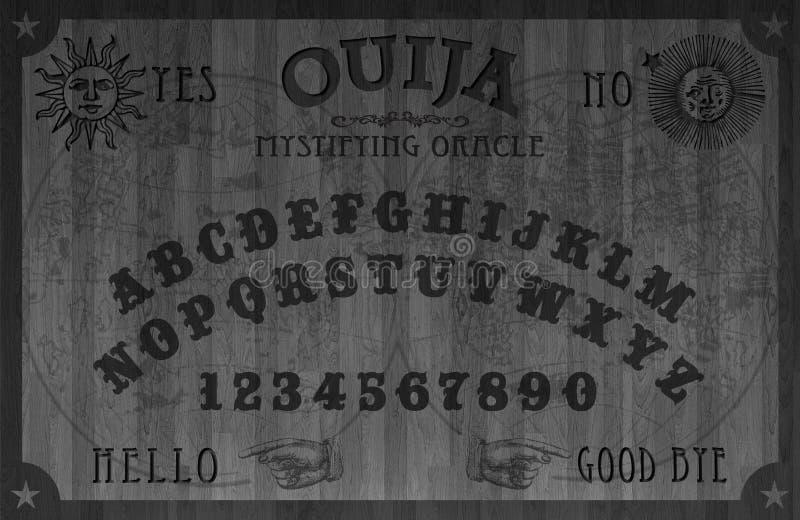 Oujia-Brett-hölzernes schwarzes magisches stock abbildung