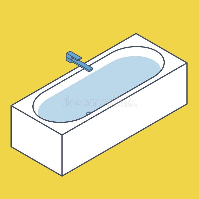 Oulinedbadkuip met water wordt gevuld dat Blauwe gele vectorbadton in isometrisch perspectief stock illustratie