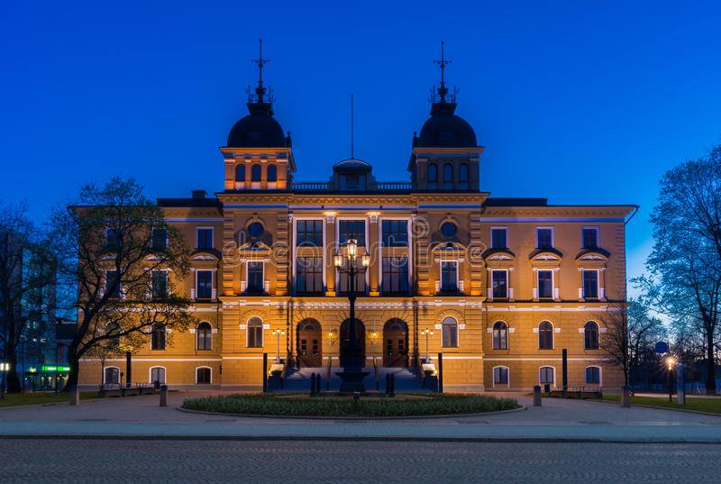 Oulu City Hall. At night in Oulu, Finland stock image