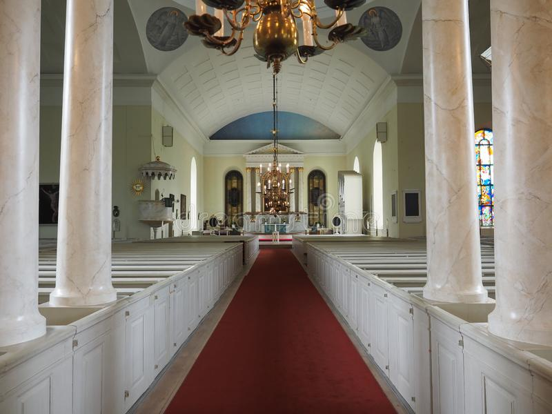 Images of the interior of the Cathedral of Oulu. Oulu, Finland - July 26, 2018: Images of the interior of the Cathedral of Oulu stock photography