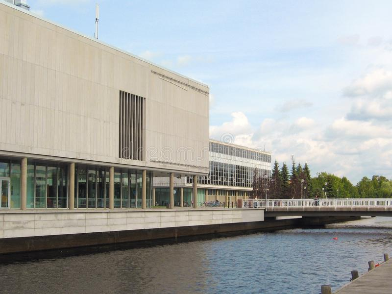 Oulu. Modern architecture of Oulu, Finland: the city theater and the city library by the sea stock photography