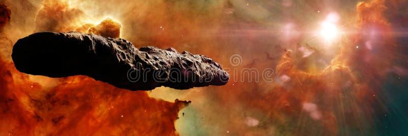Oumuamuakomeet, interstellair voorwerp die door het Zonnestelsel, ongebruikelijke gevormde stervormige 3d ruimteillustratiebanner royalty-vrije illustratie