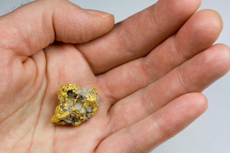 Nevada USA Gold / Quartz Nugget in Hand stock photography