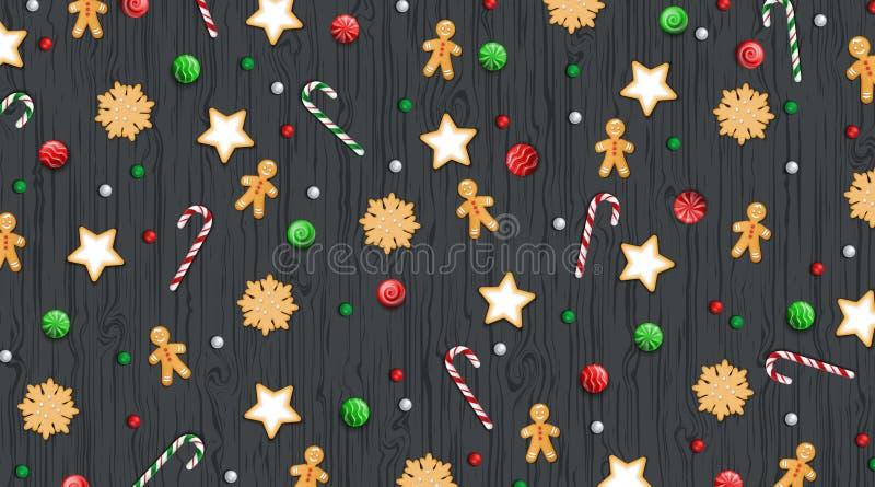 Ound Backgr с Рождеством Христовым и счастливого Нового Года горизонтальное Помадки зимы традиционные на деревянной черной таблиц иллюстрация вектора