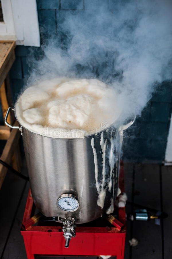 Oups ! Boil Over or a Homebrewing Hot Break and lot of Protein F stock image
