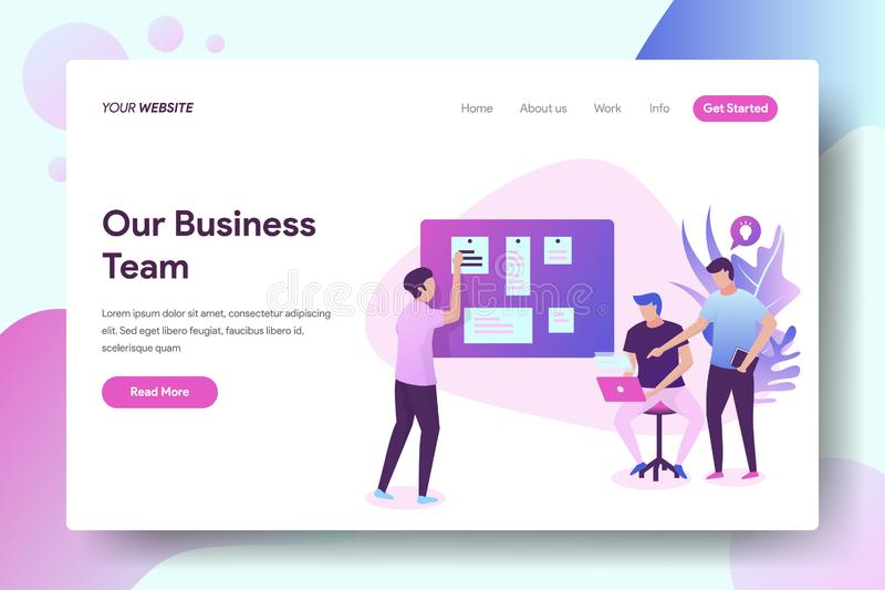 Our Business Team. Vector illustration concept, people discuss in front of the board, can be used for, landing pages, templates, UI, web, mobile applications royalty free illustration
