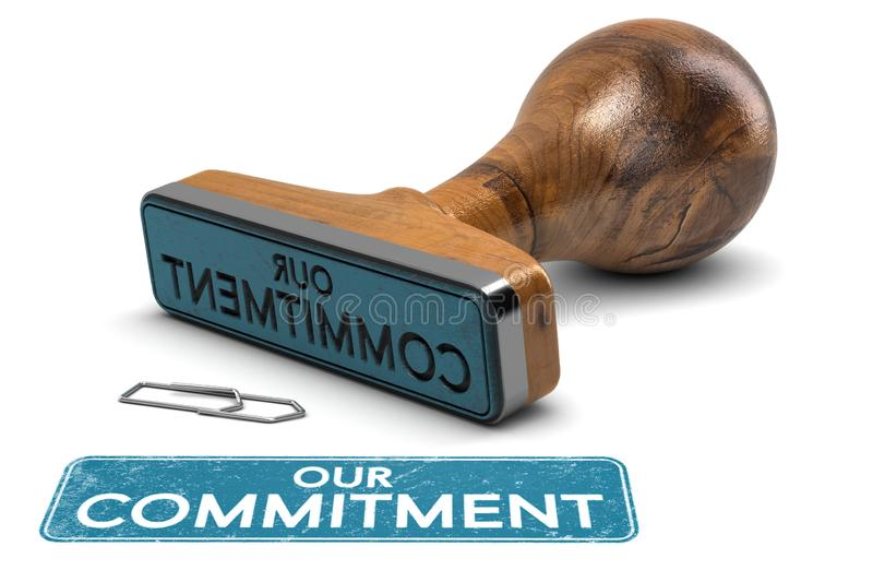 Our Commitment, Rubber Stamp Text Over White Background royalty free illustration