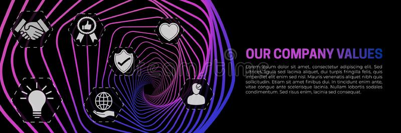 Our Company Values Abstract Modern Banner Background Vector stock illustration