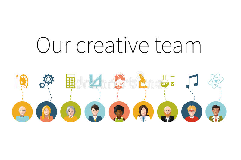 Our creative team. Flat people with signs their. Our creative team. Flat people avatars with signs their professions stock illustration