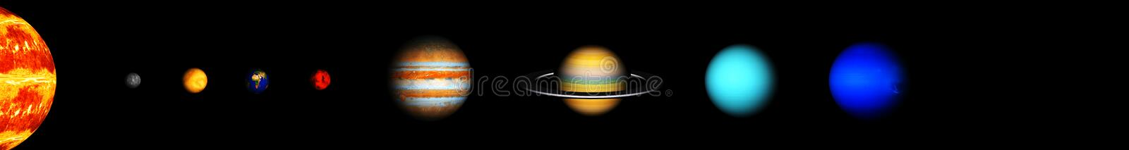 Our eight planets of the solar system stock photo