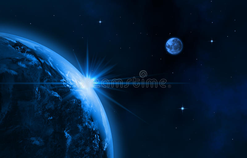 Our galaxy. Space landscape (earth, sun, moon). Sunrise. This image made ​​in 3d editor royalty free illustration