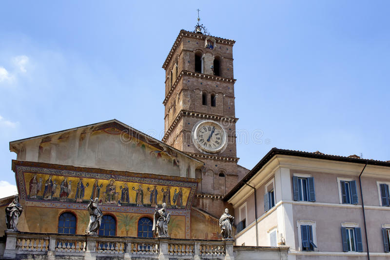 Our lady Basilica. View of historical `Our lady Basilica` in Trastevere area of Rome royalty free stock images