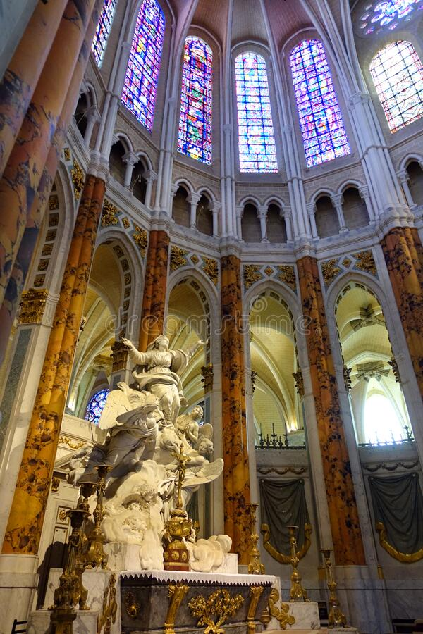 Our Lady of Chartres High Altar Sculpture, Chartres, France. On the high alter of Chartre Cathedral is a white marble sculpture depicting the Virgin Mary as Our stock images