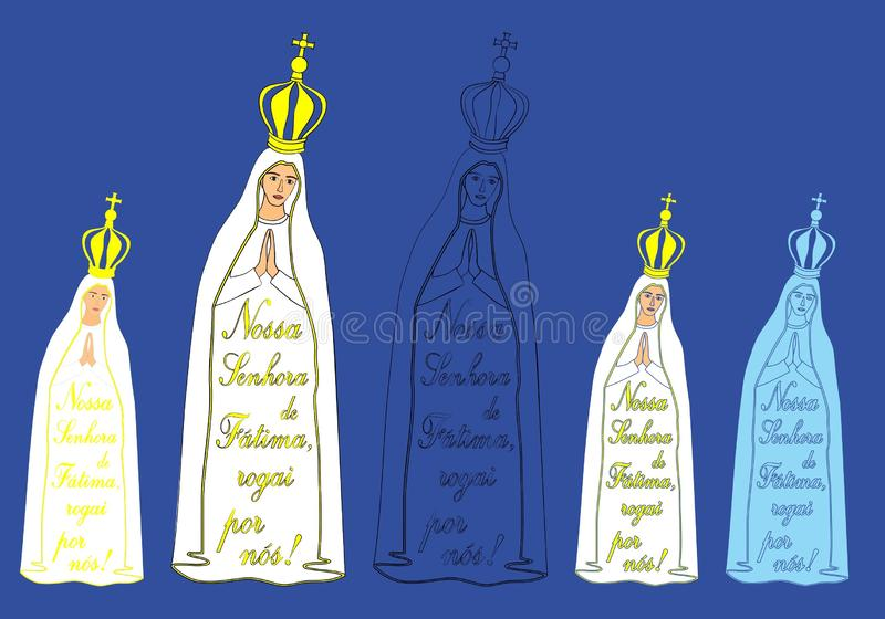 Our Lady of Fatima and excerpt from the prayer. Symbol of Christianity. Patron of Portugal stock illustration