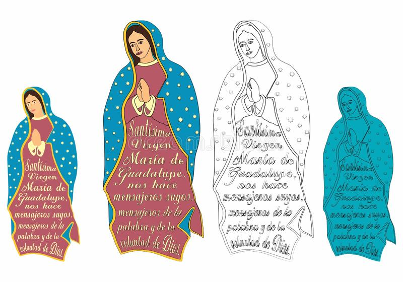 Our Lady of Guadalupe and excerpt from the prayer. Symbol of Christianity. Patron of the American continent stock illustration