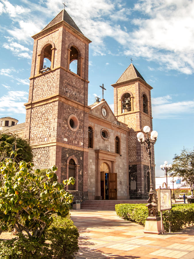 Our Lady of La Paz Cathedral. Exterior of Our Lady of La Paz Cathedral (Cathedral of Our Lady of Peace) in La Paz, Mexico stock photo