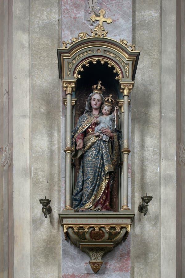 Our Lady of Mount Carmel. Statue in the Church of Assumption in Sveta Marija na Muri, Croatia stock photos