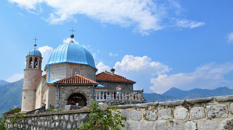 Our Lady of the Rocks - blue sky and domes stock photos