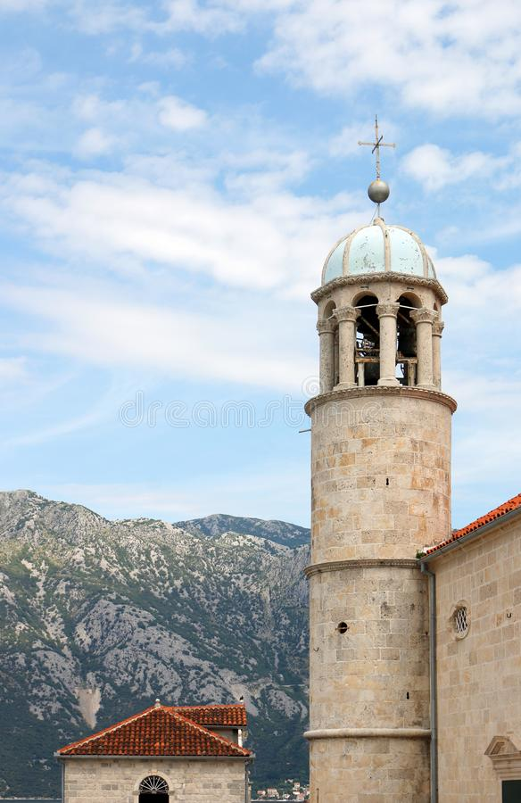 Our Lady of the Rocks monastery church tower Perast Kotor stock photos
